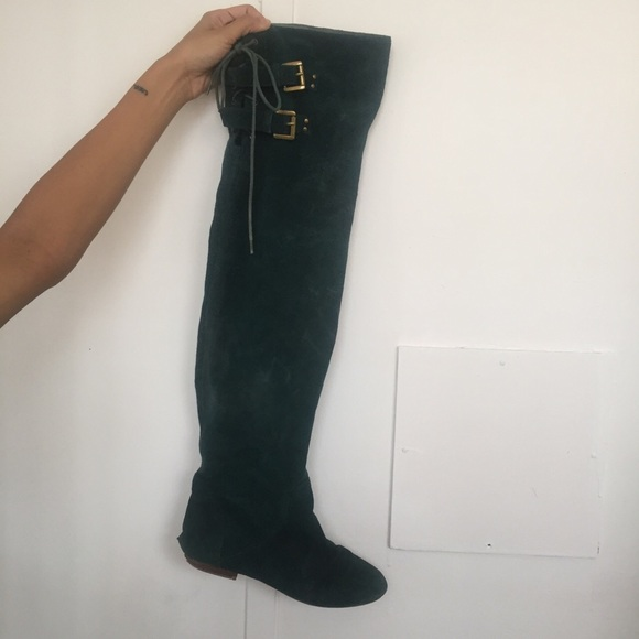 real quality buying cheap hot-selling over the knee emerald green boots